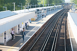 ©Licensed to London News Pictures 15/06/2020<br /> Petts Wood, UK. A mostly empty platform at Petts Wood train station Petts Wood, South East London. It is now compulsory to wear a face covering or masks on public transport in the UK due to the Coronavirus outbreak. Photo credit: Grant Falvey/LNP