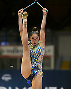 "Alexandra Agiurgiuculese during the ""1st Trofeo Citta di Monza"". On this occasion we have seen the rhythmic gymnastics teams of Belarus and Italy challenge each other. The Bilateral period was only June 9, 2019 at the Candy Arena in Monza, Italy."