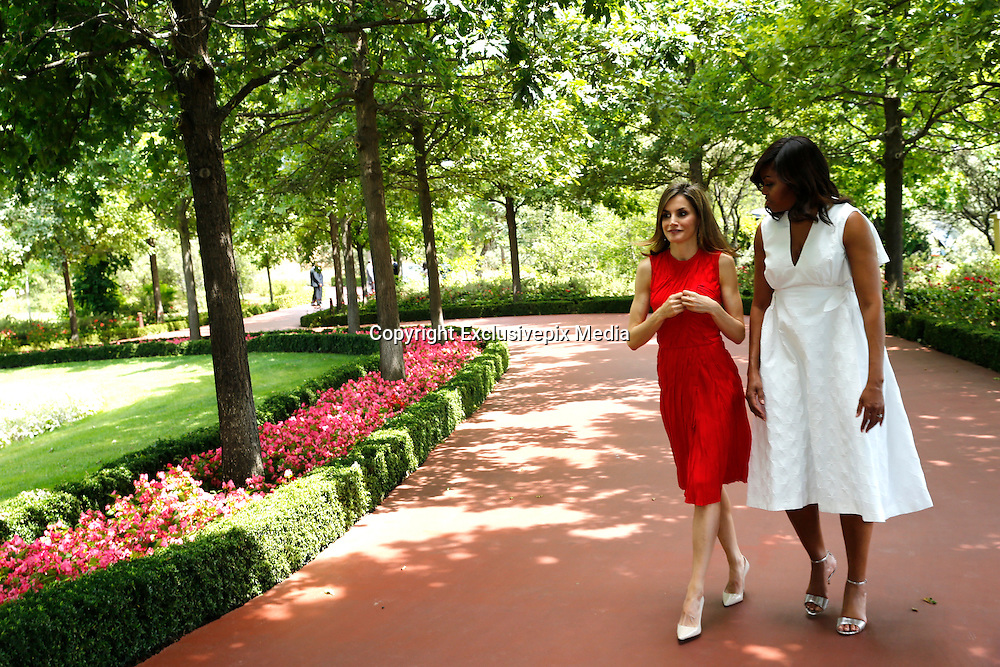 MADRID, SPAIN, 2016, JUNE 30 Queen Letizia, accompanied by His Excellency, the First Lady of the United States of America, lunch in Zarzuela Palace<br /> &copy;Exclusivepix Media