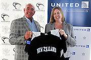 (L to R) Baseball NZ Chariman Chip Dawson, United Airlines Australia and New Zealand director Julie Reid, Baseball New Zealand Partnership Announcement with United Airlines. Auckland, New Zealand. 2 November 2016. Copyright Photo: William Booth / www.photosport.nz