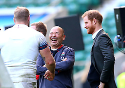 HRH Prince Harry talks with England head coach Eddie Jones and James Haskell of England during an open training session at Twickenham - Mandatory by-line: Robbie Stephenson/JMP - 16/02/2018 - RUGBY - Twickenham Stadium - London, England - England Rugby Open Training Session