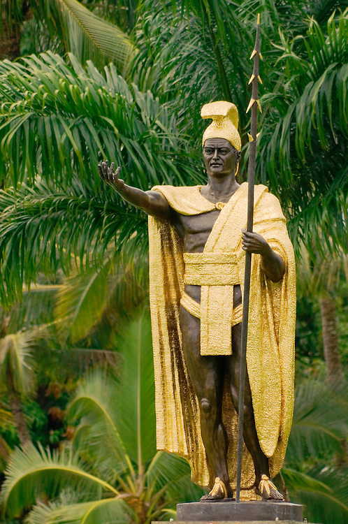 Statue of King Kamehameha I in Wailoa State Park, Hilo, Island of Hawaii.