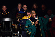 Ohio University President Roderick McDavis addresses incoming students during the New Student Convocation on Aug. 24, 2014. Photo by Lauren Pond
