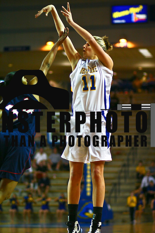 """03/18/2010 NEWARK, DE: Freshman Elena Delle Donne out of Wilmington, DE was shout down in the first half by the lady Spiders Of Richmond, Elena Delle Donne scored 19 of her team-high 25 points in the second half leading the Hens 24 points as Delaware goes down 67-49 to Richmond in the first round of the Women's National Invitation Tournament at the Bob Carpenter Center...The Blue hens, have gone to five trips the the WNIT, they have lost all five games they've played in the the WNIT, Delaware finishes out the season with a record 21-12, marking the team's eighth 20-win season in 11 seasons...Richmond (20-12), will now advance to the second round to play Syracuse at Syracuse monday March 22 at 7pm, Syracuse is coming off a 19 point win over Harvard, head coach Michael Shafer  said  """"I was tremendously proud of the way our ladies competed,"""" """"We played extremely well, especially on the defensive end. I thought if we were able to crash the boards and push the ball, then we would have a good chance to win the ballgame. When we're able to run, we get into a rhythm to knock down shots. That's what happened today."""" """"Britt handled [the homecoming back to Delaware] well,"""" said Shafer. """"I'm very pleased with her effort, I thought she handled it well. She had five assists and played tough on the defensive end. She had a great game for us."""" .The Spiders were unstoppable in the first half, connecting on (59%) of their baskets, including 6-of-8 from long range. The 40 first-half points scored was the most point production by the Spiders since Feb. 26th against GW (41), The Hens, playing in the WNIT for the first time since 2006, had a tough shooting night they only made 15 of 52 shots from the field, and at time looked very sloppy, Now it's time for Delaware to go out and get them an big athletic young lady to help Elena Delle Donne.."""