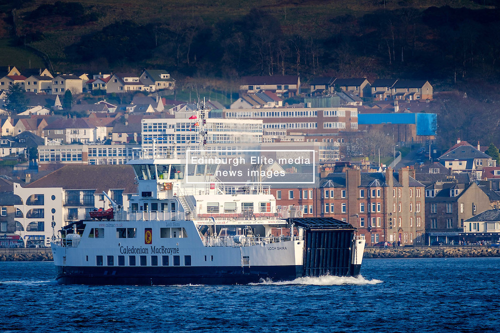 The Calmac ferry 'Loch Shira' making the short crossing from Largs on the Scottish mainland to the island of Great Cumbrae of the west coast of Scotland.  The town of Largs can be seen in the background.<br /> <br /> (c) Andrew Wilson | Edinburgh Elite media