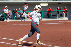 NORMAL, IL - April 06: Shannon Felde rounds first with her home run trot during a college women's softball game between the ISU Redbirds and the University of Northern Iowa Panthers on April 06 2019 at Marian Kneer Field in Normal, IL. (Photo by Alan Look)