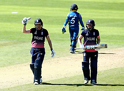 Sarah Taylor of England Women celebrates reaching 50 by raising her bat - Mandatory by-line: Robbie Stephenson/JMP - 02/07/2017 - CRICKET - County Ground - Taunton, United Kingdom - England Women v Sri Lanka Women - ICC Women's World Cup Group Stage