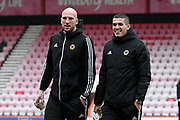 John Ruddy (21) of Wolverhampton Wanderers and Conor Coady (16) of Wolverhampton Wanderers on the pitch on arrival ahead of the Premier League match between Bournemouth and Wolverhampton Wanderers at the Vitality Stadium, Bournemouth, England on 23 November 2019.