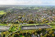 Nederland, Noord-Brabant, Gemeente Breda, 23-10-2013; Infrabundel, combinatie van autosnelweg A16 gebundeld met de spoorlijn van de HSL. Stadsduct Overbos (Li) in de voorgrond, Stadsduct Overbos (re). De bundel loopt in tunnelbakken, lokale wegen gaan over deze infrabundel heen, door middel van de zogenaamde stadsducten, gedeeltelijk ingericht als stadspark. Combination of motorway A16 and the HST railroad, crossed by local roads by means of *urban ducts*, partly designed as public parks.<br /> luchtfoto (toeslag op standard tarieven);<br /> aerial photo (additional fee required);<br /> copyright foto/photo Siebe Swart