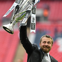 Slavisa Jokanovic Manager of Fulham lifting the cup