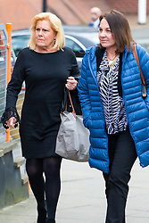American Airlines cabin crew member Cinthia Struble, 64, left, of Dallas, Texas, arrives at Uxbridge Magistrates Court near London where she faces allegations of arriving over the legal alcohol limit for airline crew at Heathrow Airport on December 28th 2018.. Uxbridge, Middlesex, March 19 2019.