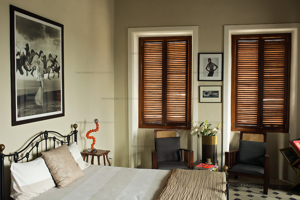 Designer Divya Thakur's recently renovated home on the fourth floor of a century-old building in the Colaba neighbourhood of Mumbai. Thakur runs Design Temple, a graphics firm that she established ten years ago...Photo: Tom Pietrasik.Mumbai, India.February 2010