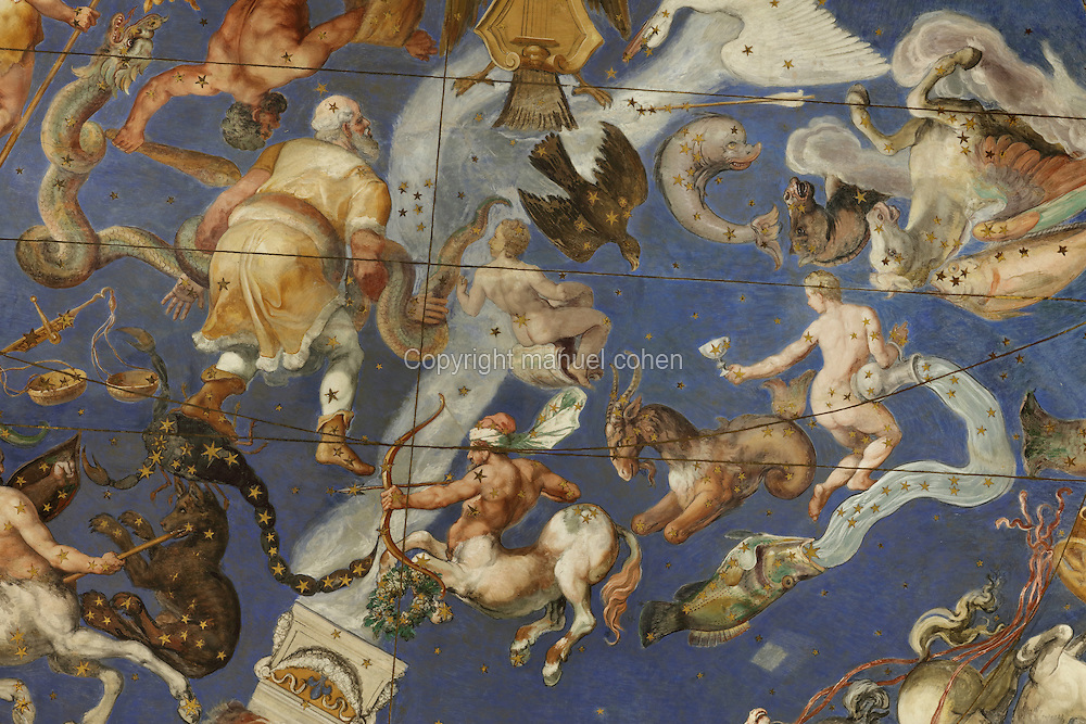 Detail of the Zodiac and Constellations, 1574, ceiling fresco in the Hall of Maps, in the Villa Farnese or Villa Caprarola, a 16th century Renaissance and Mannerist fortified villa designed by Giacomo Barozzi da Vignola and built 1559-73 for the Farnese family under Cardinal Alessandro Farnese, in Caprarola, Viterbo, Lazio, Italy. The Hall of Maps is also known as the Room of the World Map or Sala del Mappamondo and displays maps of the whole known world as well as of the heavens. The Villa Farnese is now owned by the state and run by the Polo Museale del Lazio. Picture by Manuel Cohen
