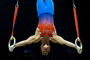 Brinn Bevan of Great Britain (GBR) on the Rings during the iPro Sport World Cup of Gymnastics 2017 at the O2 Arena, London, United Kingdom on 8 April 2017. Photo by Martin Cole.
