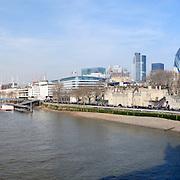 Panorama of London skyline taken from the Tower Bridge
