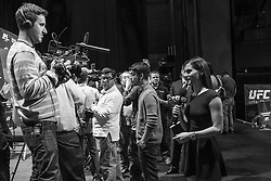 Los Angeles, California, USA - February 26, 2015: Megan Olivi records a segment during the Ultimate media day at Club Nokia at L.A. Live for UFC 184 at the Staples Center in Los Angeles, California.  Ed Mulholland for ESPN