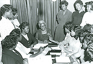 Rosa Young counseling young women teacher training students at Alabama Luther College in May 1961.