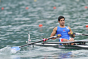 Bled, SLOVENIA,  CHI M1X,  Oscar VASQUEZ OCHOA, moves away from the start in his heat of the men's single Sculls,  on the opening day, FISA World Cup, Bled venue, Lake Bled.  Friday  28/05/2010  [Mandatory Credit Peter Spurrier/ Intersport Images] Cop last event as international level.