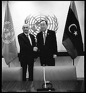 Agila Saleh Essa Gwaider, the Acting Head of State, of Libya, with United Nations Secretary General Ban Ki moon.