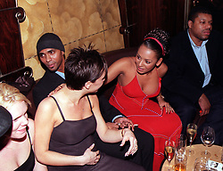 PA NEWS PHOTO 7/12/98 SPICE GIRLS VICTORIA ADAMS (BROWN DRESS) AND MEL B (RED DRESS) WITH MEL'S HUSBAND JIMMY GULZAR (CENTRE) AT THE OPENING PARTY OF MARCO PIERRE WHITE'S TITANIC BAR IN THE WEST END OF LONDON.