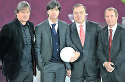 (L-R) DIETMAR COSTANTINI COACH OF AUSTRIA, JOACHIM LOEW COACH OF GERMANY, DICK ADVOCAAT COACH OF BELGIUM, BERTI VOGTS COACH OF AZERAIJAN POSE AFTER THE UEFA EURO 2012 QUALIFYING DRAW IN PALACE SCIENCE AND CULTURE IN WARSAW, POLAND..THE 2012 EUROPEAN SOCCER CHAMPIONSHIP WILL BE HOSTED BY POLAND AND UKRAINE...WARSAW, POLAND , FEBRUARY 07, 2010..( PHOTO BY ADAM NURKIEWICZ / MEDIASPORT / SPORTIDA.COM ).