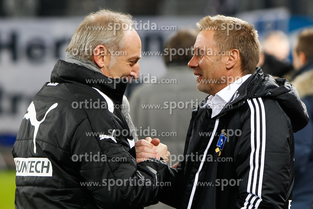 07.12.2012, Imtech Arena, Hamburg, GER, 1. FBL, Hamburger SV vs TSG 1899 Hoffenheim, 16. Runde, im Bild Manager Andreas Mueller (TSG Hoffenheim) und Trainer Thorsten Fink (HSV) v-l // during the German Bundesliga 16th round match between Hamburger SV and TSG 1899 Hoffenheim at the Imtech Arena, Hamburg, Germany on 2012/07/12. EXPA Pictures © 2012, PhotoCredit: EXPA/ Eibner/ Lars Berg..***** ATTENTION - OUT OF GER *****