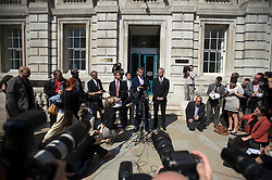 © licensed to London News Pictures. 11/07/2011. Mark Lewis, Solicitor to the Dowler family and member of the 'Hacked off' group talk at a press conference outside the Cabinet Office following a meeting with Deputy Prime Minister Nick Clegg today (11/07/2011) to discuss the News of The World phone hacking scandal. Photo credit should read Ben Cawthra/LNP