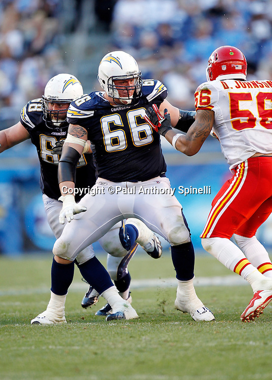 San Diego Chargers offensive tackle Jeromey Clary (66) blocks during the NFL week 14 football game against the Kansas City Chiefs on Sunday, December 12, 2010 in San Diego, California. The Chargers won the game 31-0. (©Paul Anthony Spinelli)