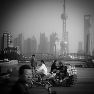 China, Shanghai.Pudong slyline and Waibadu bridge view from the Bund