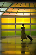 A photo of an airport commuter at O'Hare International airport in Chicago