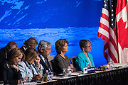 August 31, 2015: Secretary of the Interior Sally Jewel and Anchorage Senator Lisa Murkowski listen to remarks during the opening plenary of the Global Leadership in the Arctic Cooperation, Innovation, Engagement & Resilience conference.