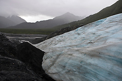 View of the toe of Exit Glacier with outwash plain and hills in the background, Kenai Fjords National Park, Alaska, United States of America