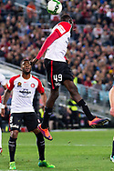 July 15 2017: Western Sydney Wanderers Abraham MAJOK (49) goes up for the ball at the International soccer match between English Premier League giants Arsenal and A-League team Western Sydney Wanderers at ANZ Stadium in Sydney.