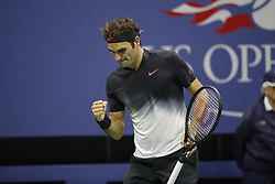 September 6, 2017 - New York City, New York, United States - Roger Federer of Switzerland reacts against Juan Martin del Potro of Argentina during their Men's Singles Quarterfinal match on Day Ten of the 2017 US Open at the USTA Billie Jean King National Tennis Center on September 6, 2017 in the Flushing neighborhood of the Queens borough of New York City. (Credit Image: © Foto Olimpik/NurPhoto via ZUMA Press)