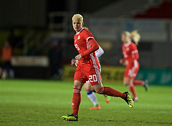 NEWPORT, WALES - Thursday, April 4, 2019: Wales' Grace Horrell during an International Friendly match between Wales and Czech Republic at Rodney Parade. (Pic by David Rawcliffe/Propaganda)