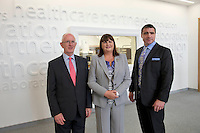 17/09/2013  Mr Barry O'Leary, Chief Executive IDA,  Ms Máire Geoghegan-Quinn, EU Commissioner for Innovation, Research and Science, Vice President Medtronic Global Vascular Operations & General Manager Galway Site at the opening of the Medtronic Global Innovation centre at Medtronic, Galway. Photo:Andrew Downes
