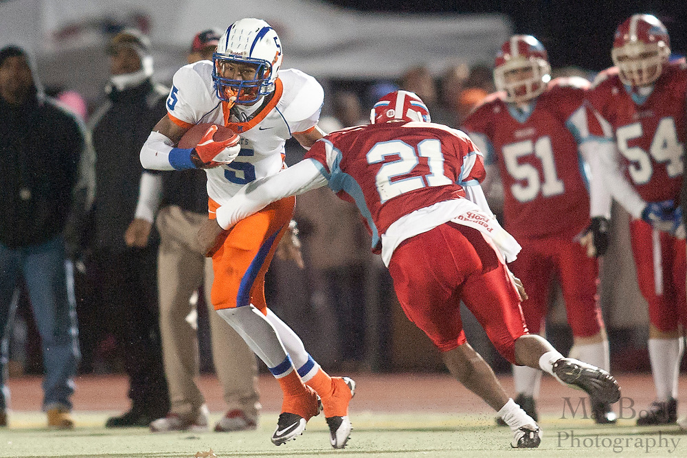 Millville High School's Dequan Bowman (5)..NJSIAA South Jersey Group 4 Title match between Millville High School and Pennsuaken High School held at Coach Richard Wacker Stadium on the campus of Rowan University in Glassboro, NJ on Friday, December 2, 2011. (photo: Mat Boyle)