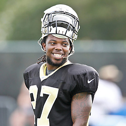 July 28, 2012; Metairie, LA, USA; New Orleans Saints rookie safety Jerico Nelson (37) during a training camp practice at the team's practice facility. Mandatory Credit: Derick E. Hingle-US PRESSWIRE