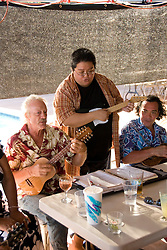 Hawaii: Molokai, Friday night kupuna night entertainment by locals at the Hotel Molokai, with singers, ukulele strummers, hula dancers, and good food and drink. .Photo himolo170-71771..Photo copyright Lee Foster, www.fostertravel.com, lee@fostertravel.com, 510-549-2202