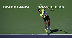 Rafael Nadal of Spain serves during the men's quarterfinal against Milos Raonic of Canada on day twelve of the BNP Paribas Open tennis at the Indian Wells Tennis Garden in Indian Wells, California, the United States on March 20, 2015. Rafael Nadal lost 1-2. EXPA Pictures © 2015, PhotoCredit: EXPA/ Photoshot/ Yang Lei C<br /> <br /> *****ATTENTION - for AUT, SLO, CRO, SRB, BIH, MAZ only*****