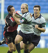 2004/05 Zurich Premiership Rugby - London Irish v Worcester Warriors.Exiles Mark Mapletoft, getd past Tommy Hayes tackle..07.11.2004 Photo  Peter Spurrier. .email images@intersport-images.com...