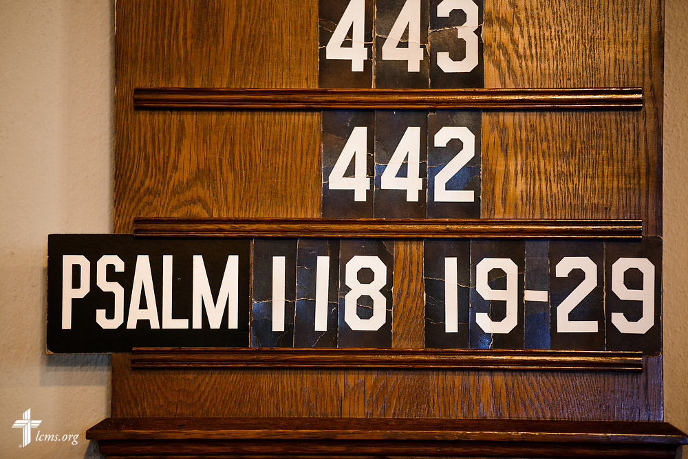 The hymn board at Nazareth Lutheran Church, Baltimore, on Saturday, March 24, 2018. LCMS Communications/Erik M. Lunsford