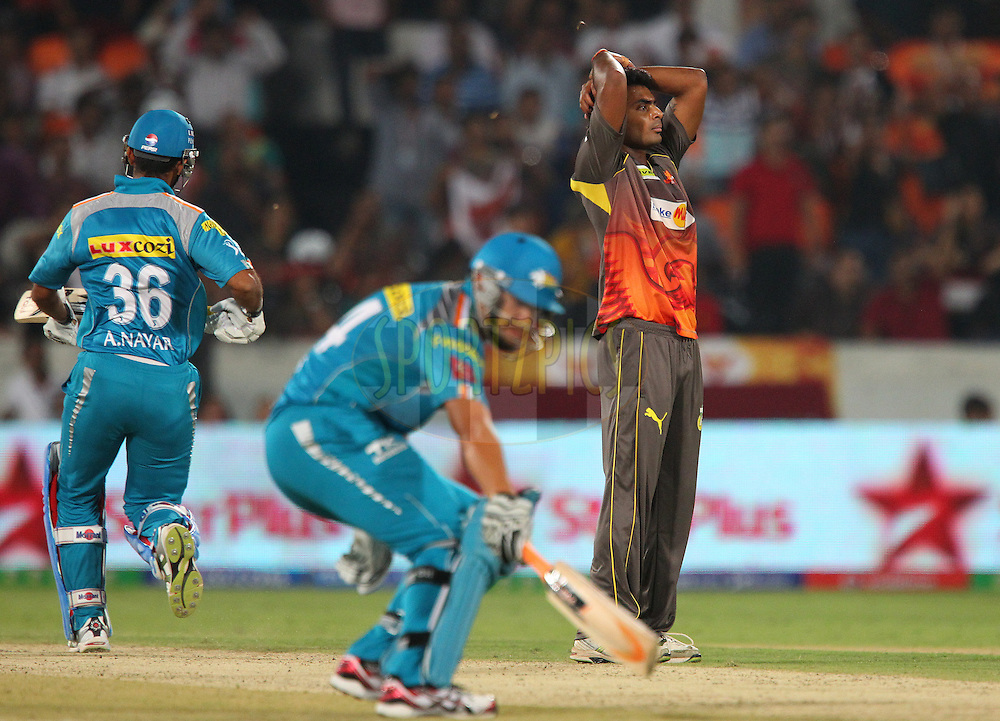 Ashish Reddy reacts after a missed opportunity during match 3 of of the Pepsi Indian Premier League between The Sunrisers Hyderabad and The Pune Warriors held at the Rajiv Gandhi International  Stadium, Hyderabad  on the 5th April 2013..Photo by Ron Gaunt-IPL-SPORTZPICS..Use of this image is subject to the terms and conditions as outlined by the BCCI. These terms can be found by following this link:..http://www.sportzpics.co.za/image/I0000SoRagM2cIEc