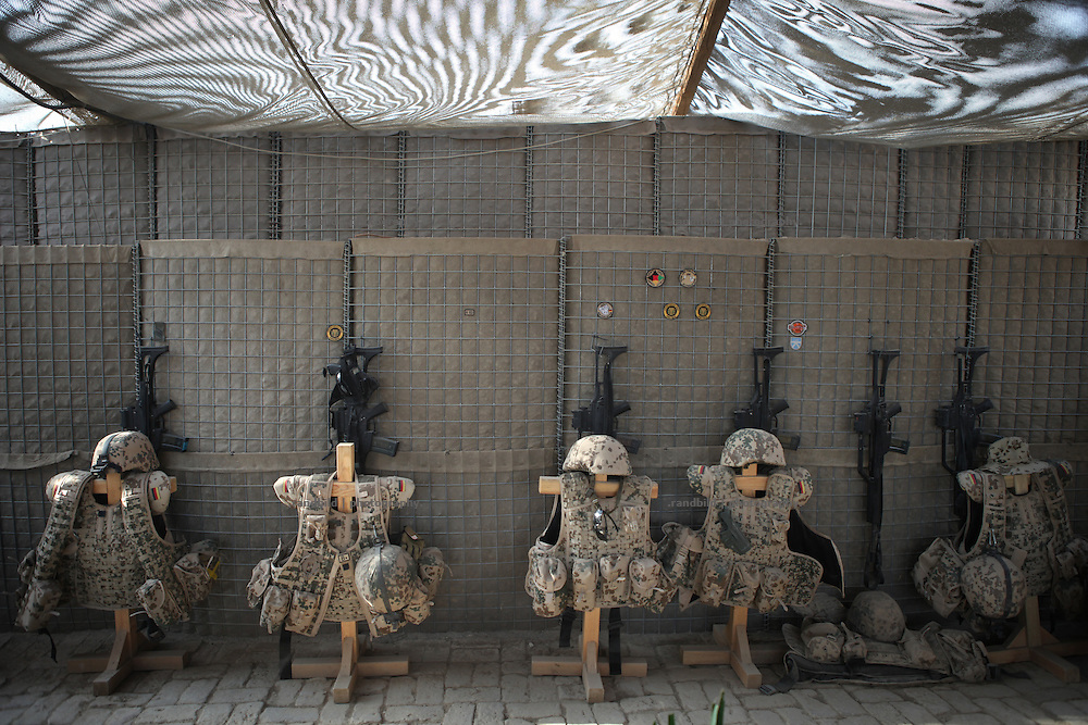Assault Rifles and Flak Fackets stored ready to use. Seen in the PRT Kunduz.