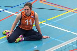14-02-2016 NED: Nederland - Oekraine, Houten<br /> De Nederlandse paravolleybalsters speelde een vriendschappelijke wedstrijd tegen Europees kampioen Oekra&iuml;ne. De equipe van bondscoach Pim Scherpenzeel bereidt zich tegen Oekra&iuml;ne voor op het Paralympisch kwalificatietoernooi in China, dat in maart wordt gespeeld /  Judith Jacobs #11 of Nederland