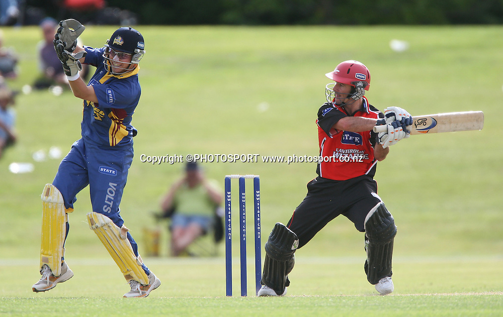 State Shield one day cricket match between the Otago Volts and the Canterbury Wizards at Molyneux Park, Alexandra on Saturday 29 December 2007. Photo: Andrew Cornaga/PHOTOSPORT