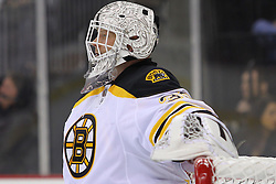 Jan 4, 2012; Newark, NJ, USA; Boston Bruins goalie Tim Thomas (30) during the second period at the Prudential Center.