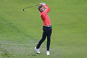 Michael Carrick hits an iron shot to the green during the Celebrity Pro-Am day at Wentworth Club, Virginia Water, United Kingdom on 23 May 2018. Picture by Phil Duncan.