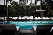 Los Angeles, April 9 2012- The pool of the Roosevelt hotel on Hollywood Boulevard.