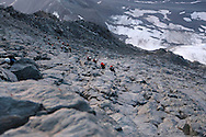 Alpinists at dawn on the Hornli ridge.<br /> <br /> &ldquo;Matterhorn 150 years Cervino&rdquo; - The year 2015 is the 150th Anniversary of the first ascent by Edward Whymper from the Swiss side (14th July) and by Jean Antoine Carrel from the Italian side on the 17th July 1865.<br /> On 17th July 2015 a friendship convention was signed by the members of Swiss, French, British and Italian climbing teams. A ceremony was held at the summit in honour of the mountain.